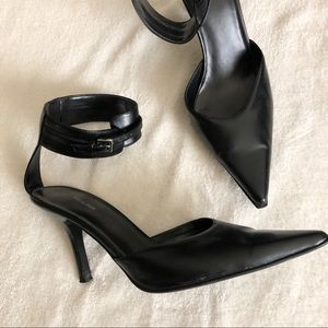 Y2K pointy toe ankle straps black high heel shoes